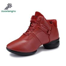 Autumn New Leather Dance Shoes Modern Increase Ladies Square Soft Bottom Jazz Sports Women