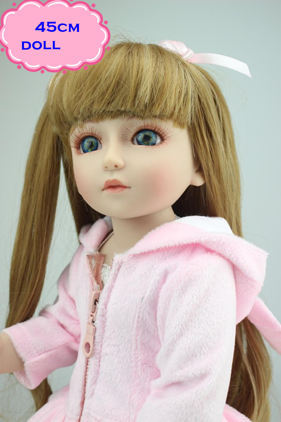 18'' Free Shipping Girls Toys SD/BJD Doll With Long Brown Hair Pretty Full Silicone Vinyl Baby Dolls With Pink Clothes For Dolls 18 45cm hard body bjd sd brown hair blue or brown eyes baby doll lifelike ball joint doll for baby girls