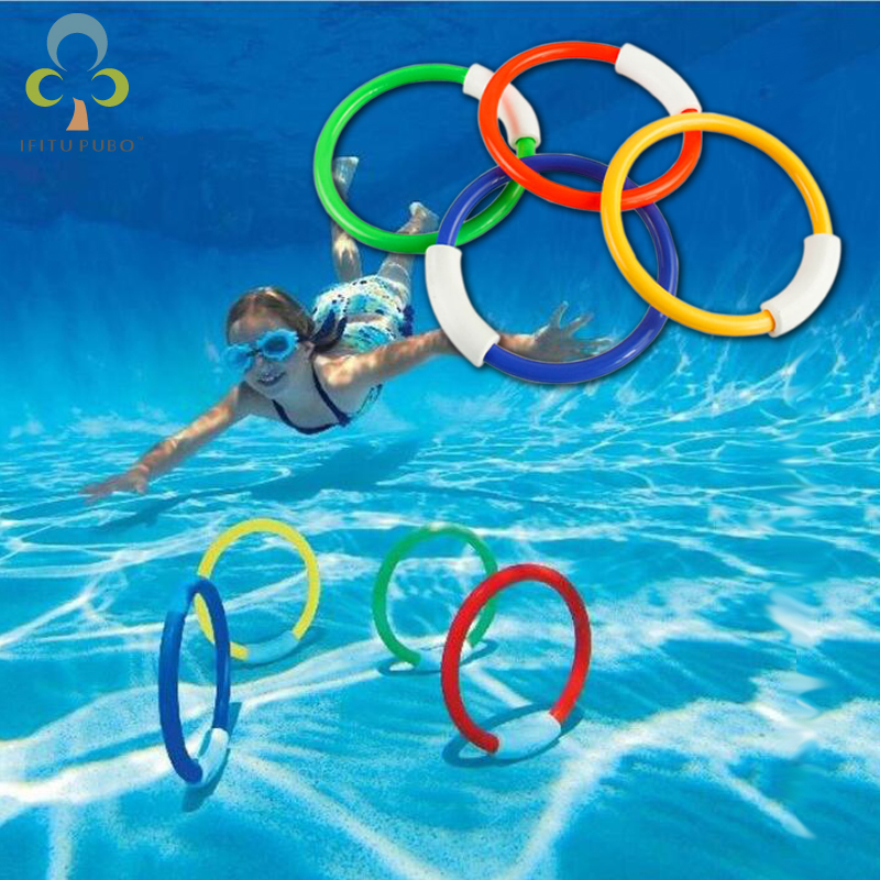 4 Pcs/Pack 2017 Child Kid Diving Ring Water Toys Underwater Swimming Pool Accessories Diving Buoys Four Loaded Throwing Toys WYQ