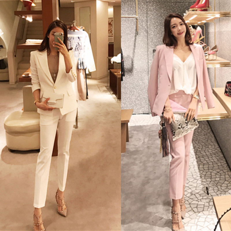 Spring white small suit suit female Korean Slim casual small style pink professional suit
