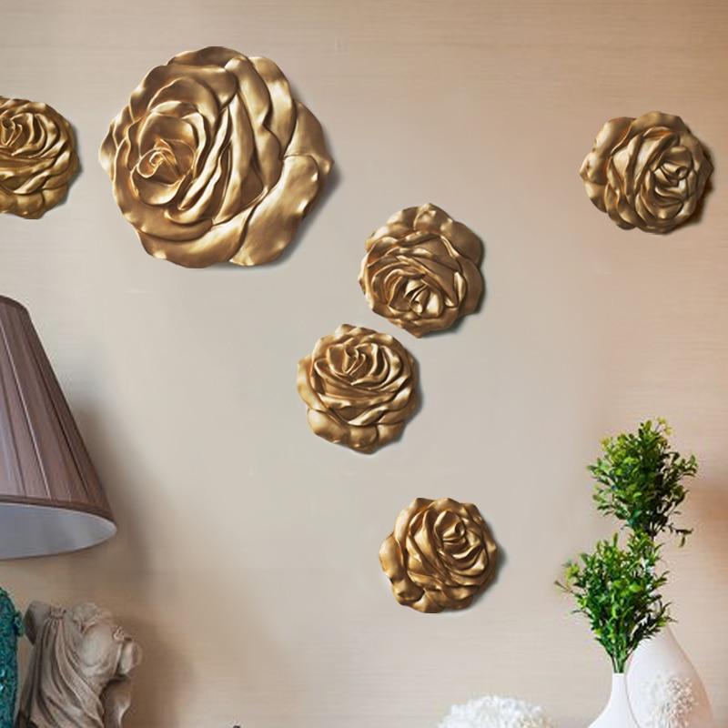 Accueil accessoires mode muons sticker mural stéréo fleur résine tv fond décoration suspendus