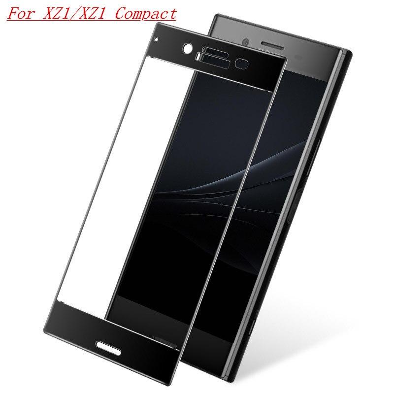 SFor Sony Xperia XZ1 Protector de pantalla compacto Sony Xperia XZ1 vidrio templado cubierta completa pegamento de cristal para Sony XZ1