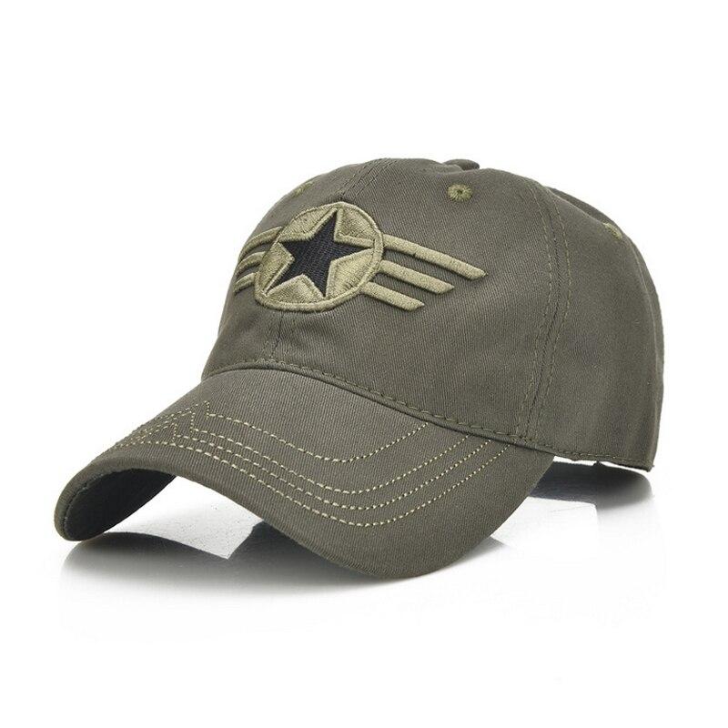 Prix pour D'été casquettes étoiles Broderie Conception 2017 Coton Baseball chapeaux de soleil en été noir, vert Armée, camouflage Boucle Arrière