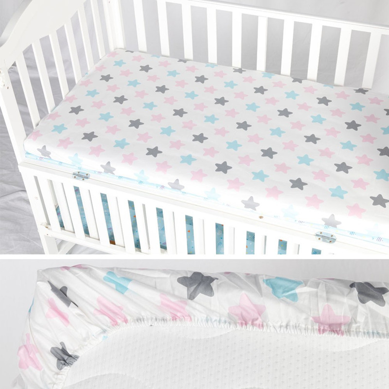 Baby Bed Crib Sheet Mattress Cover 100% Cotton Crib Fitted Sheet Soft Baby Bed Mattress Cover Protector Cartoon Newborn Bedding