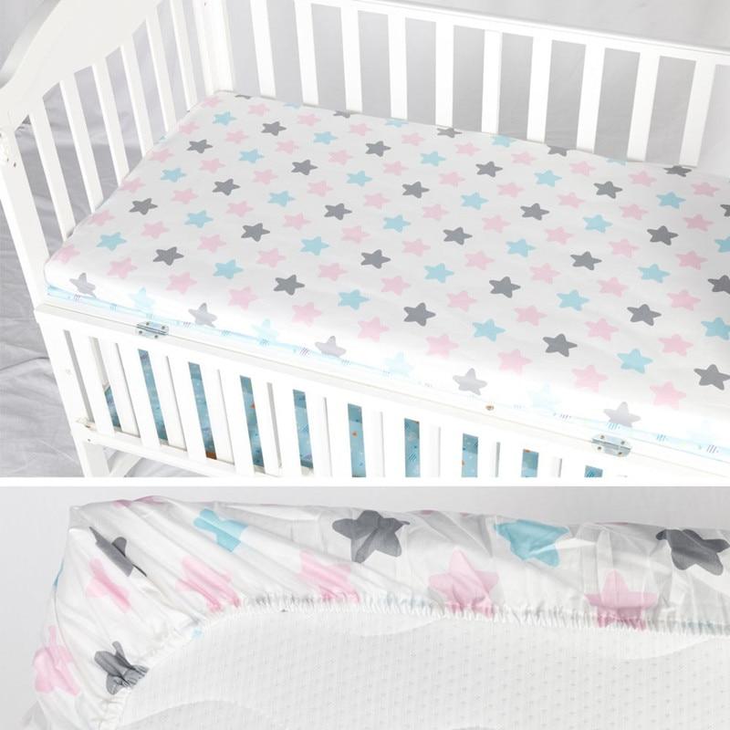 Capa De Colchão Lençol 100% Algodão Cama Berço do bebê Berço Protetor Capa de Colchão Lençol Cama Macia Do Bebê Dos Desenhos Animados de Cama Recém-nascidos