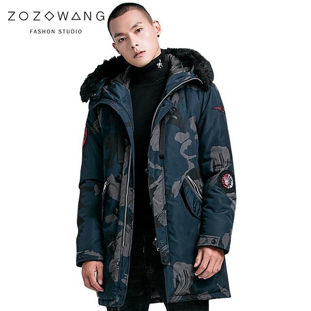 low cost 0db72 22ddd ZOZOWANG 4XL 2019 frühling winter jacke männer Camouflage Casual parka  epaulet design langen mantel mit kapuze große pelz armee stil camp