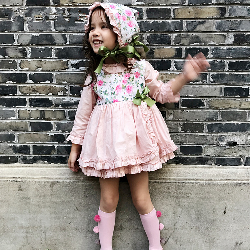 где купить Girl Floral Dress Baby Princess Party Spain Birthday Christmas Kids Dresses PP Pant Hat Set Bow Robe Fille Children Clothes 4pcs дешево