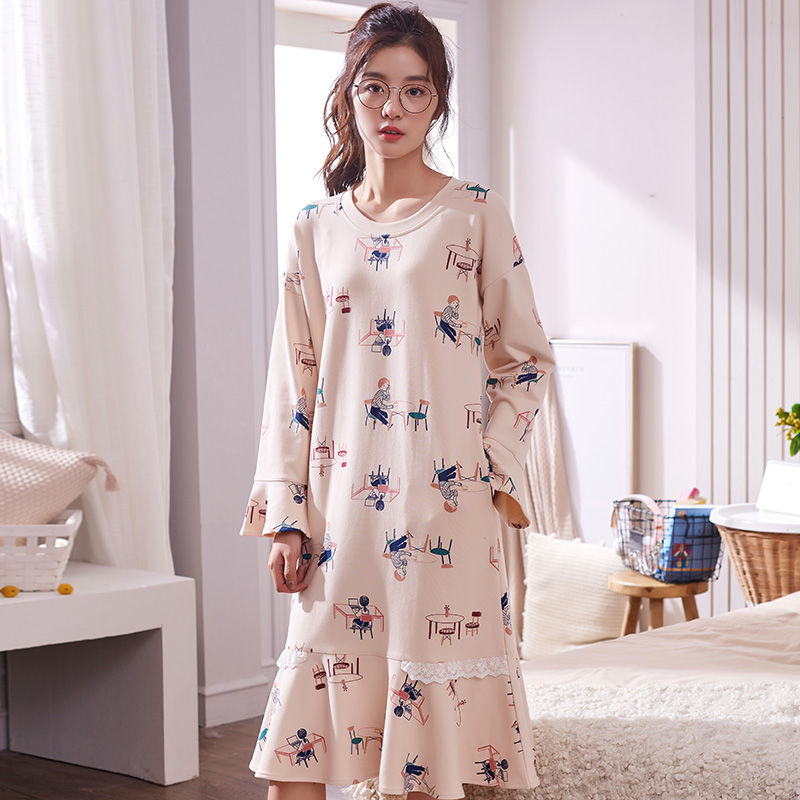 New Arrivals 100% Cotton Women's   Nightgown   Lounge Nightdress Ladies Sleepwear Nightwear Loose   Nightgowns     Sleepshirts   Fashion