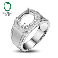 CaiMao Oval Cut Semi Mount Ring Settings 0 47ct Diamond 18k White Gold Gemstone Engagement Mens