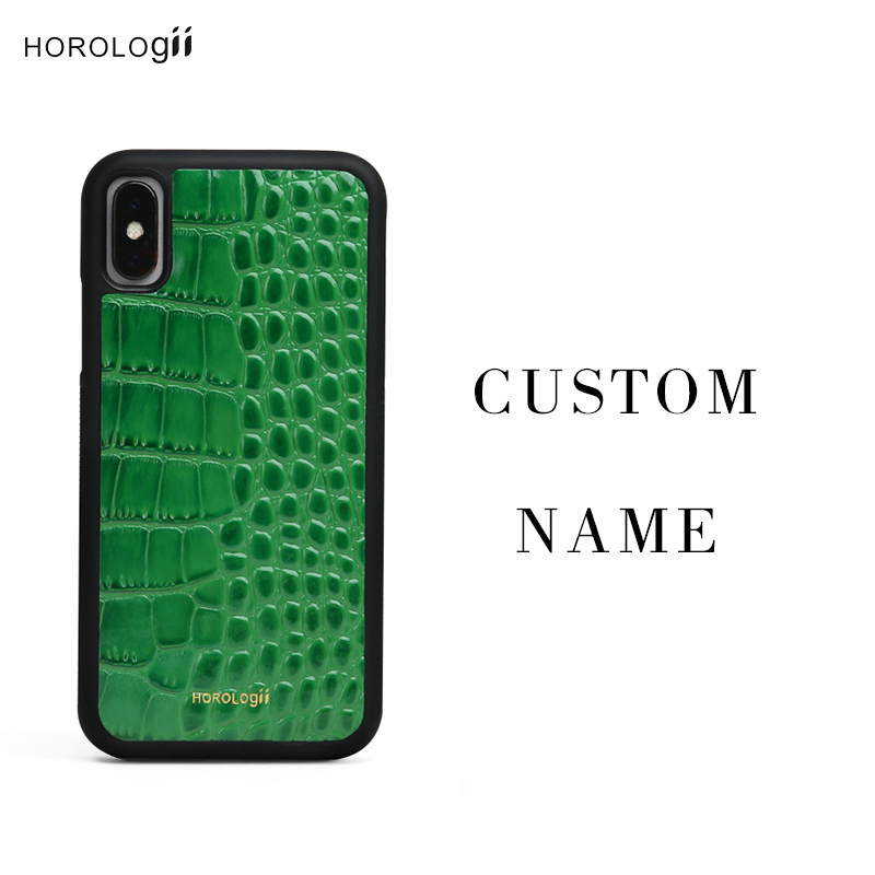 Horologii Green Phone Case Cover For Iphone Xs Max Xr Case Embossed Crocodile Pattern Luxury Personalized Initials Dropship