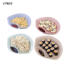 CTREE New Creative Wheat Straw Drain Double Layer With Vinegar Dumplings Plate Breakfast Fruit Tray Plate Kitchen Tableware C542 ouneed happy home 1 piece for dumplings healthy green wheat straw double layer vinegar dish dumpling plate fruit dish