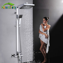 Chrome Polished Shower Set ABS Shower Head and Hand Shower Black Facet two Type Shape Shower System Hot Cold Mixer bath Faucet