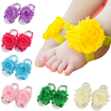 Sweet Baby Girl Barefoot Sandals Folds Shabby Flower Socks Cover Barefoot Foot Flower Infant Toddler Shoes 24 Pairs Per Lot barefoot over stones