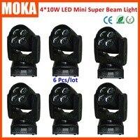 6 шт./лот 4 в 1 rgbw мини пятна луча перемещающаяся головка DMX Звук Salve Авто коммерческого свет