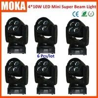 6pcs/lot 4 in 1 RGBW mini beam spot moving head light DMX sound salve Auto commercial light