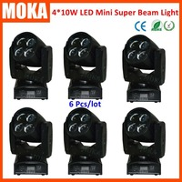 6pcs/lot 4 in 1 RGBW mini beam spot moving head light DMX sound salve Auto commercial light