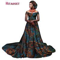 Hitarget 2018 new african bazin riche wedding dresses for women slash neck ladies african dashiki long dresses clothing WY2380