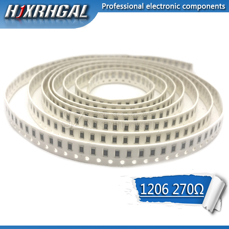 100PCS 1206 SMD Resistor 270 ohm chip resistor 0.25W 1/4W 270R 271 hjxrhgal-in Resistors from Electronic Components & Supplies