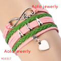 6Pcs/Lot AKA Pink & Green Leather Bracelet Sorority Leather Bracelet Customized Bracelet Free Shipping!