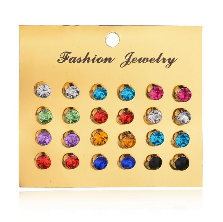 2018 New 12 Pairs=1 set Colorful Crystal Earrings Piercing Gold earring Fashion Stud Earrings For Women Bijoux Jewelry Brincos ...