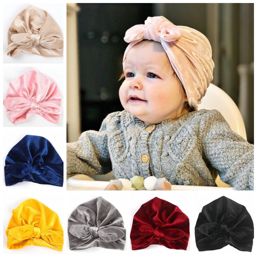 New Gold Velvet Turban Hat For Baby Kids Newborn Beanie Stylish Top Knot Ear Caps   Headwear   Birthday Gift Party Photo Props