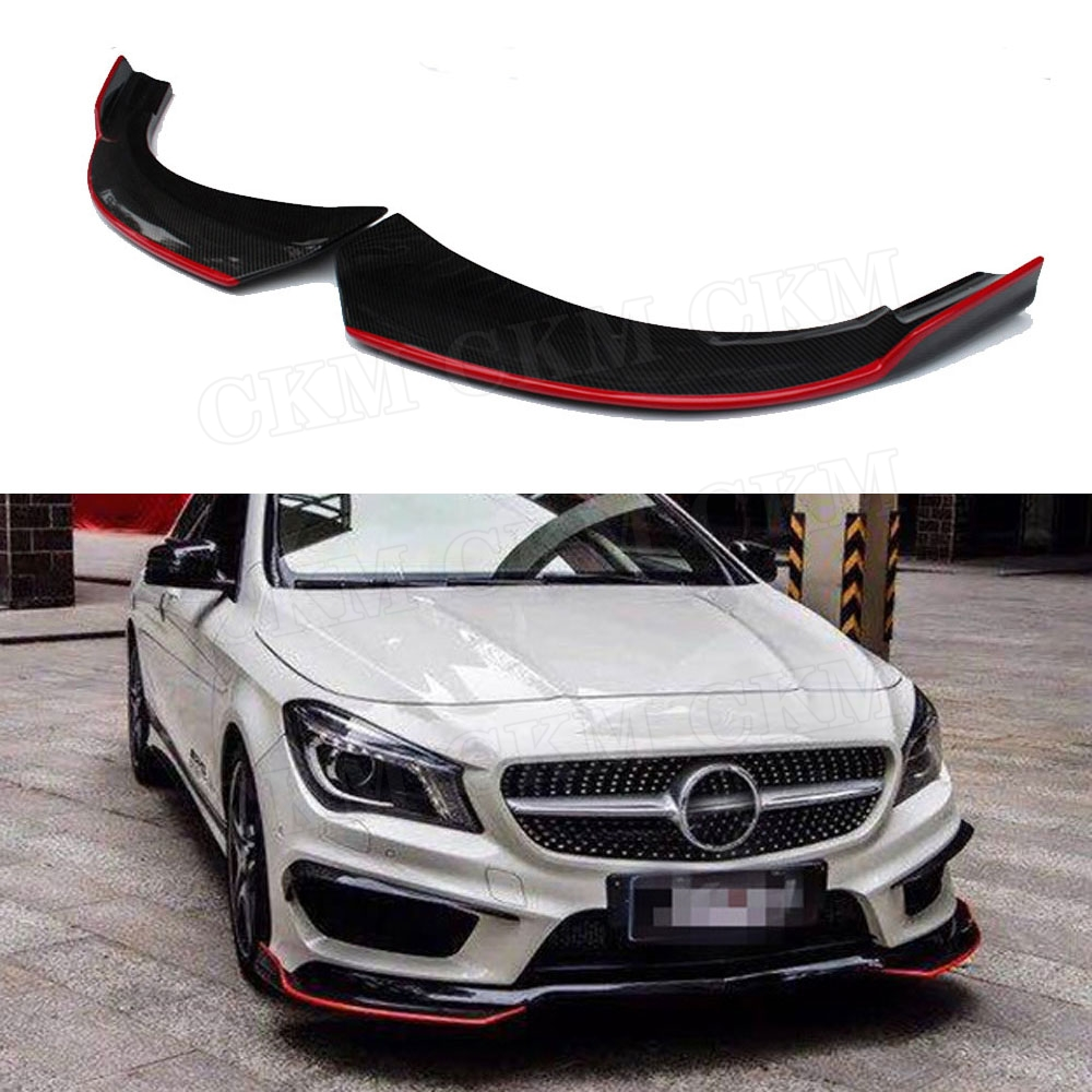 Front Lip Splitters Fender Aprons For Benz <font><b>CLA</b></font> Class <font><b>W117</b></font> C117 CLA250 CLA260 CLA45 2014-2016 Carbon Fiber Flap Cupwings image