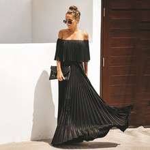 Off Shoulder Long Pleated Dress Women 2019 Autumn Ruffle Solid Maxi Dress Off The Shoulder Elegant Party Dress Vestidos