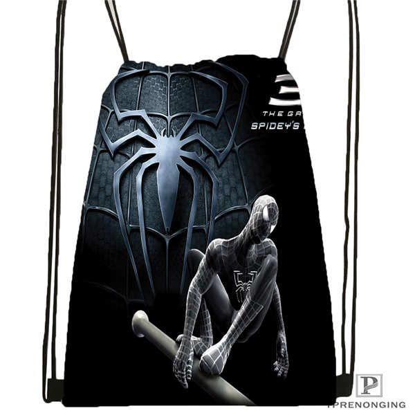 Custom Ultimate_spider_@01-man Drawstring Backpack Bag Cute Daypack Kids Satchel (Black Back) 31x40cm#180611-03-124
