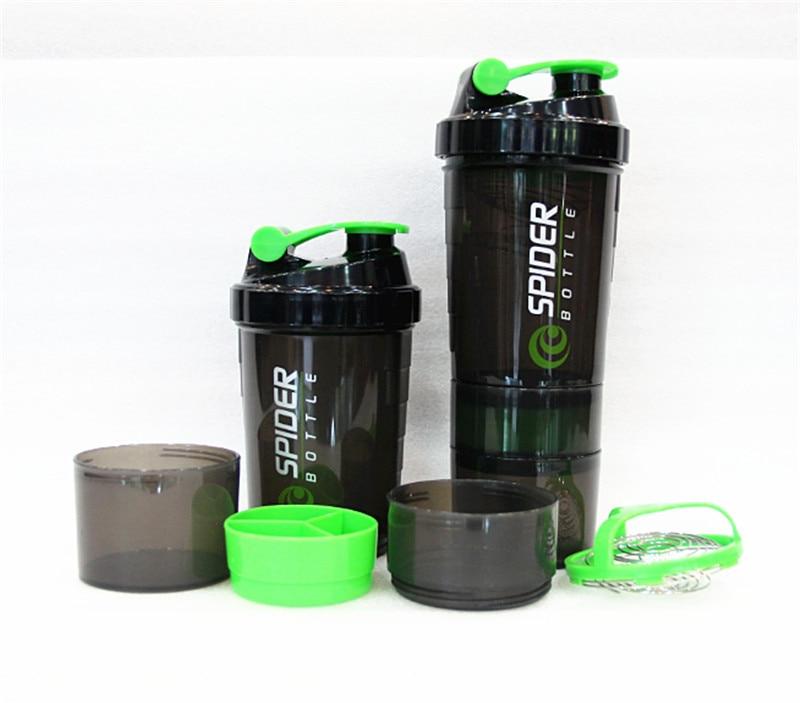 Ücretsiz Kargo Yeni Yaratıcı Teknoloji Protein Tozu Şişeler/Fitness Sallamak Sallamak Milkshake Bardak/Spor Su Şişeleri Siyah-yeşil