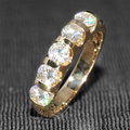 Queen brilliance 1.25 ct f color mitad eternidad wedding band band matching banda genuino moissanite diamante 14 k 585 de oro amarillo