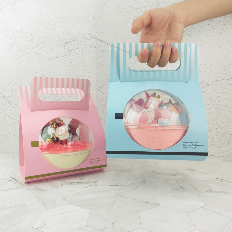 Clear Round Plastic Mousse Cup Ball with Paper Handle Box Cupcake Boxes Dessert Cake Box W9235 image