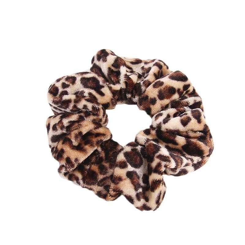1 pc feminino inverno elástico borracha banda suave leopardo leite vaca impresso pleuche veludo pano anel de cabelo rabo de cavalo titular grande scrunchi
