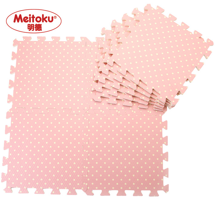 Meitoku Eva Foam Puzzle Mats Pink Dots Child Floormat Baby