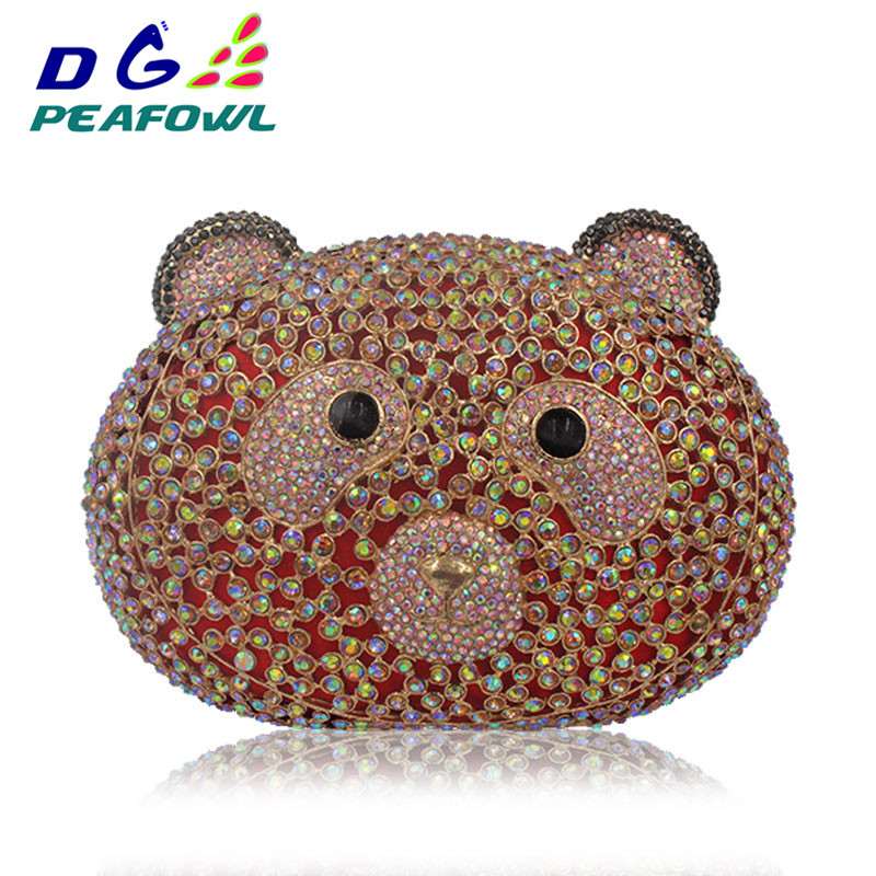 Luxury Animal Bear Shaped Colorful Crystal Diamond Women Bag Iphone X Wallet Case Sling Bags For Lady Party Clutch Evening BagLuxury Animal Bear Shaped Colorful Crystal Diamond Women Bag Iphone X Wallet Case Sling Bags For Lady Party Clutch Evening Bag