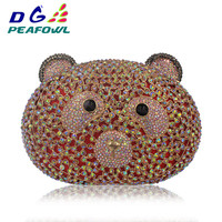 Luxury Animal Bear Shaped Colorful Crystal Diamond Women Bag Iphone X Wallet Case Sling Bags For Lady Party Clutch Evening Bag