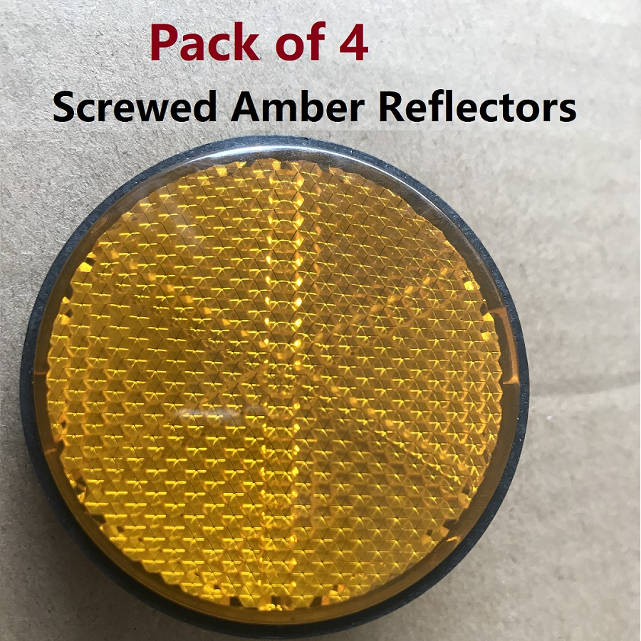 4pcs Amber Screws Round Reflectors Motorcycle Trucks Cars Auto Caravan Trailer RV Camper ...