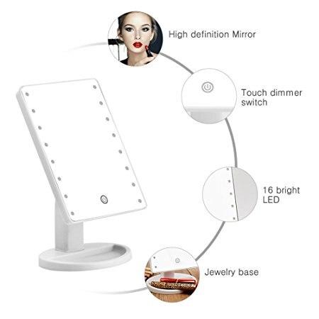 ao toque luminosa, espelho rotativo 180, ajustável, lâmpada de mesa