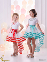 White Hi Lo Flower Girls Dresses For Wedding Party 2017 Shoet Sleeve Organza Lace Lovely Little