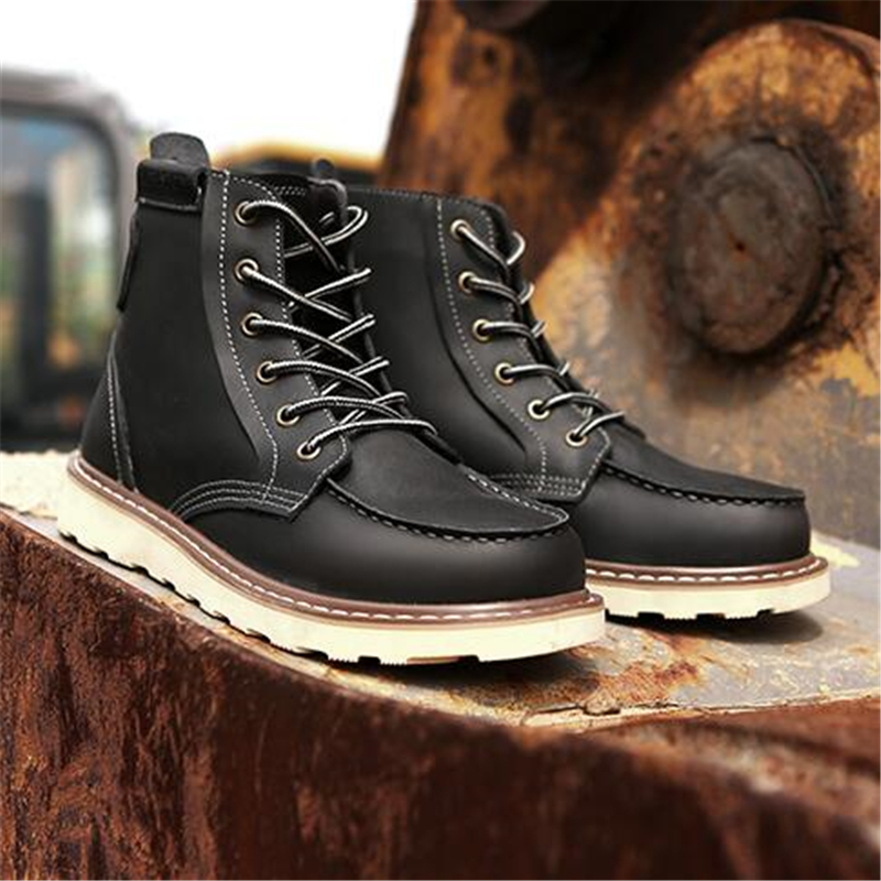 Luxury Vintage Men boots Genuine leather Lace Up Motorcycle boots Classic Fashion Male Tooling shoes Ankle boots 061 - 5