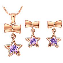 Plated NEW set of 925 Sterling Silver custom star pendant ear micro crystal
