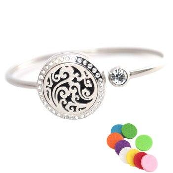 10Pcs Ocean Bracelet Bangle Aromatherapy 25mm Magnet Crystal Stainless steel essential oil diffuser locket bracelet