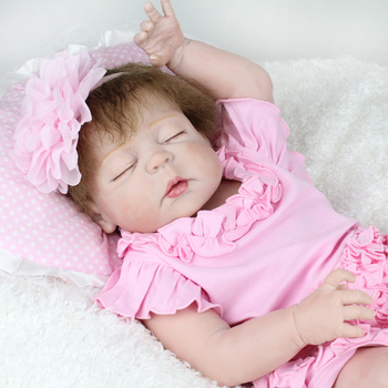 "57cm Reborn Babies Full Body Silicone Dolls 23"" Vinyl newborn Lifelike bathe sleeping princess bathe reborn toddler doll toys"