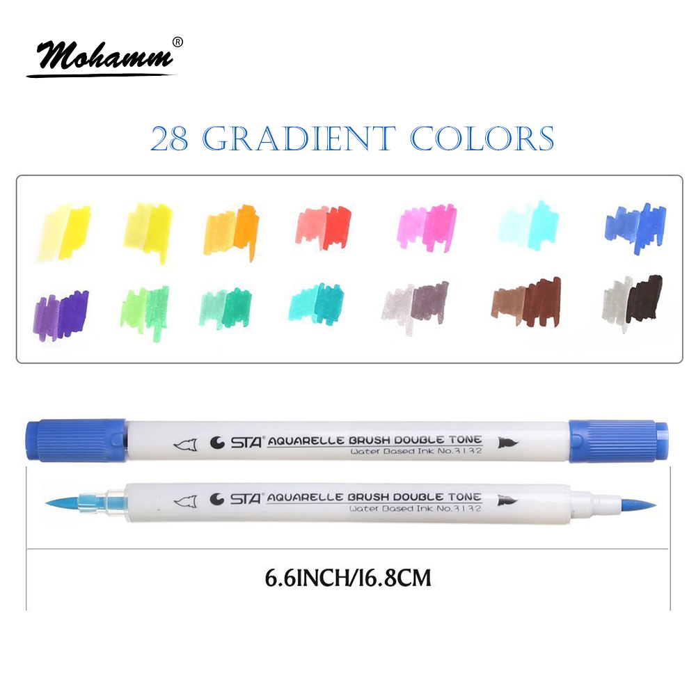 STA 14pcs/lot 28 Gradient Colors Dual Tip Watercolor Brush Markers Water Based Lettering Marker Pens Coloring Book Drawing