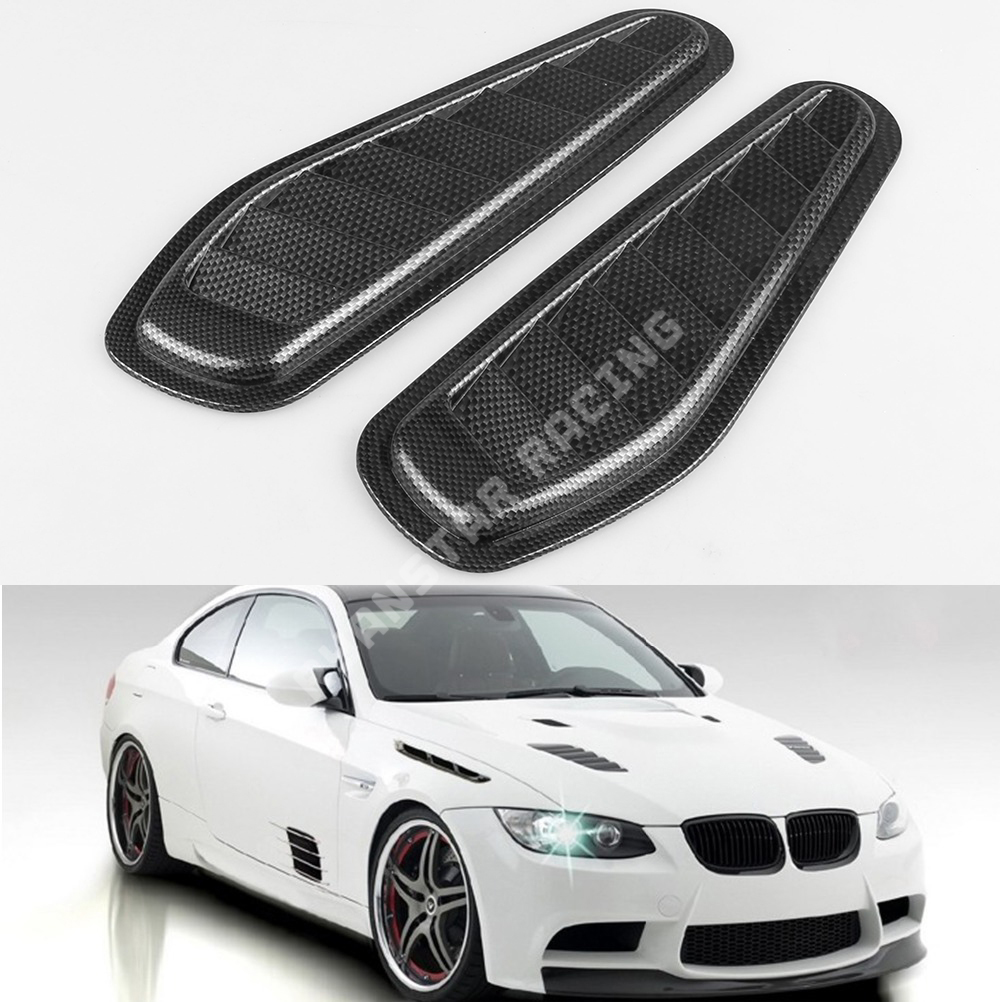 2 Car Decorative Air Flow Intake Scoop Turbo Bonnet Vent Cover Hood Fender Black