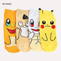 new cheaper Pokemon Socks cotton Jacquard Sox Japanese Cartoon Raichu Charmander Novelty Funny ankle Socks For Women 4pairs/lot