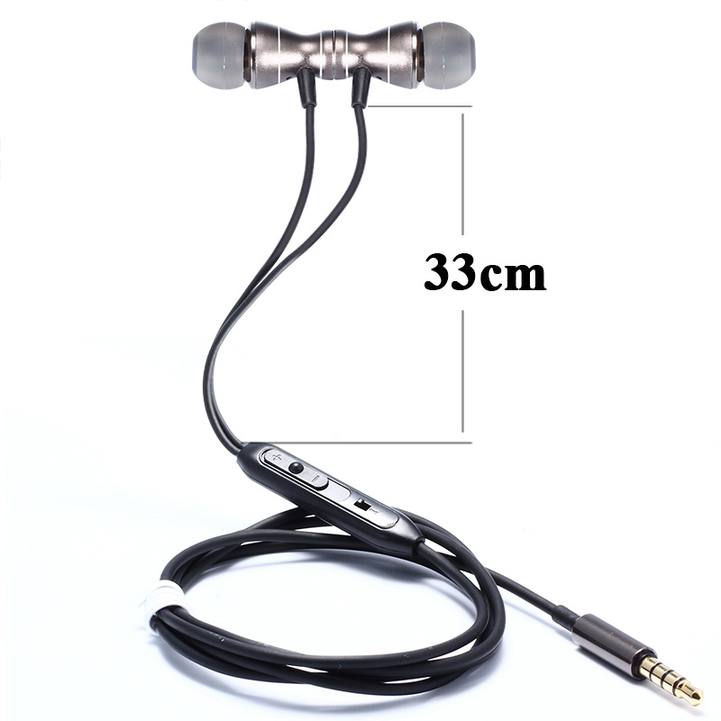 3.5mm In-Ear metal headset In-line Control Magnetic Clarity Stereo Sound earphone with Mic for iphone Samsung XIAOMI