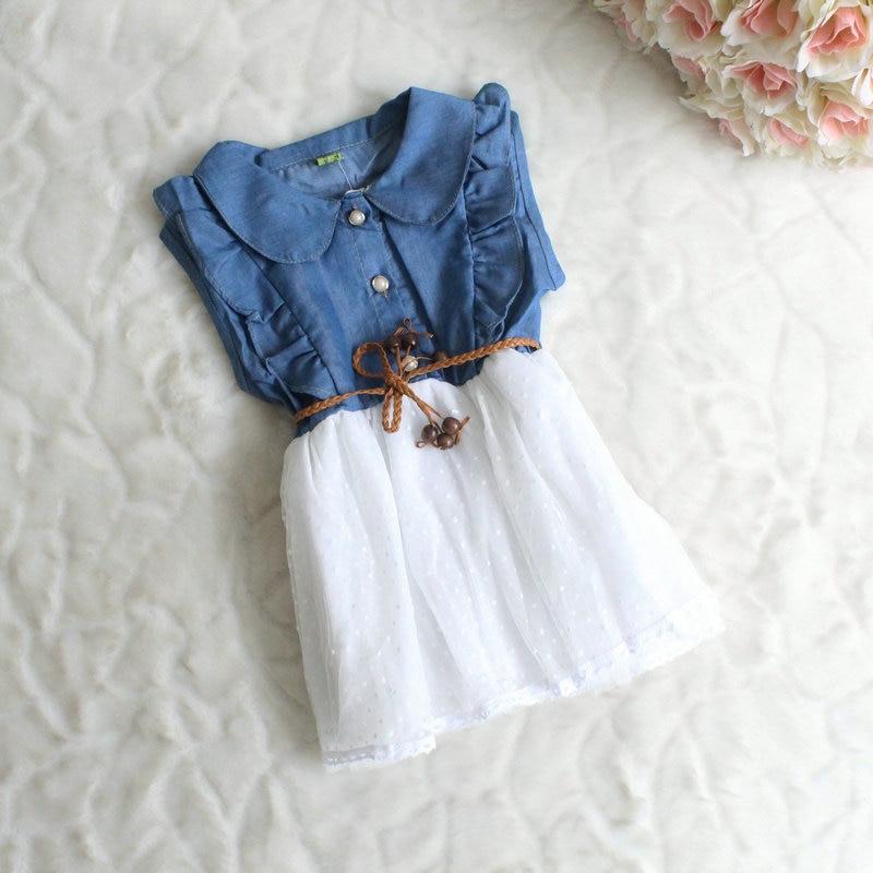 3b01baab0e 2016 Korean children fashion denim dresses baby girls summer new ...