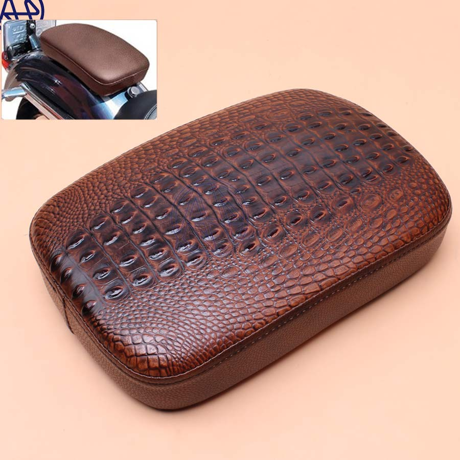 Motorcycle Rear Fender Solo Seat Cover Crocodile Leather Style Pillion Pad Brown Seat 8 Suction Cups Protect for Harley Cafe