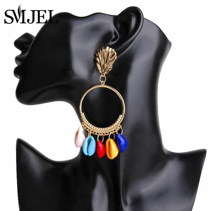 SMJEL 2019 Boho Shell серьги ручной работы для женщин смешанные цвета модные свадебные висячие серьги с бахромой оптовая продажа oorbellen