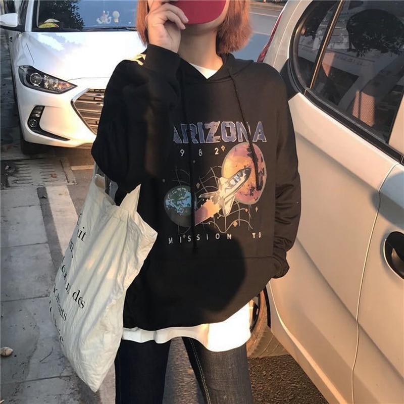 Gagarich Black Sweatshirt Women Clothes 2019 Mission To Mars Spacecraft Print Arizona Cotton Top Hoodies